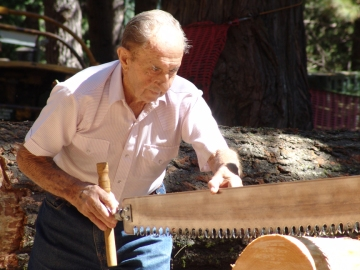Grandpa checking saw