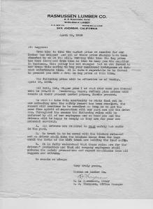 Rassmussen Letter