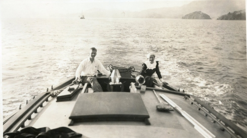 Blagen Boat with Howard and Ruth red