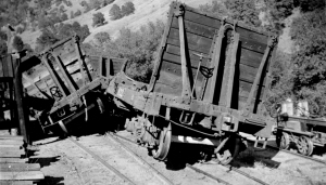 Flat car wreck at bottom