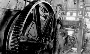 Huge gear on Steam Donkey Ray Eldridge