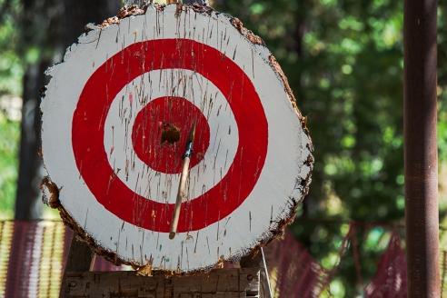 Axe near bullseye