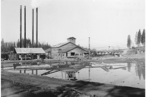 view of mill and green chain from pond